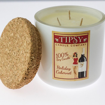 Holiday Cabernet Limited Edition 17 ounce Soy Candle made by Tipsy Candle Company