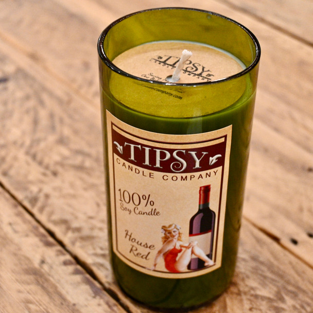House Red Soy Candle in Repurposed Wine Bottle made by Tipsy Candle Company