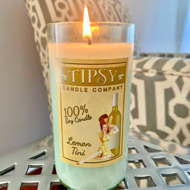 Lemon Tini Wine Bottle Candle made by Tipsy Candle Company.