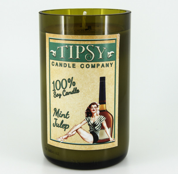 Mint candle wine bottle made by Tipsy Candle Company.