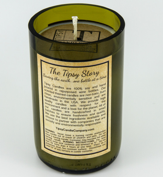 Back of Mint Julep soy candle.