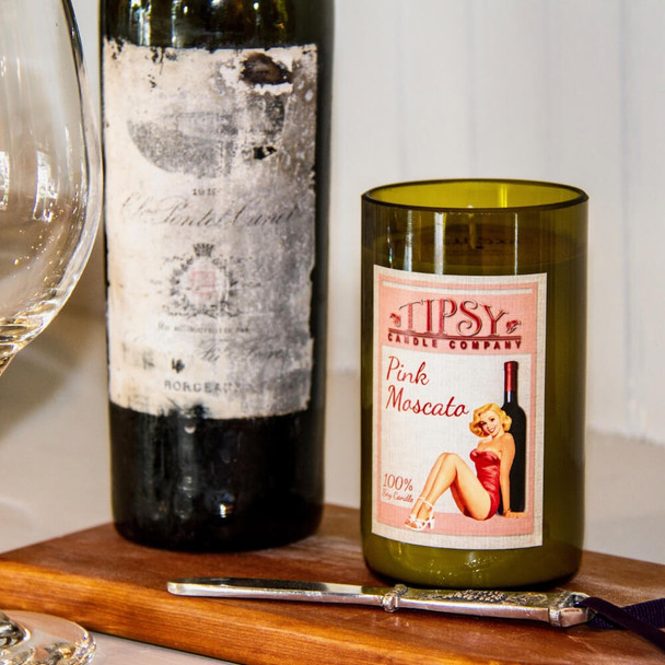 Pink Moscato Soy Wine Bottle Candle.
