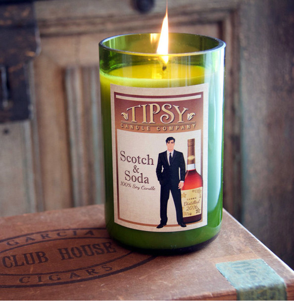 Scotch and Soda Soy Candle Lit in boutique store.