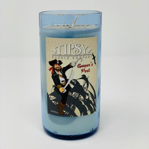 Gaspars Port Candle in blue bottle.