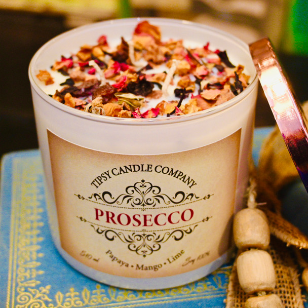 Prosecco 3 wick 17 ounce soy candle made by Tipsy Candle Company.
