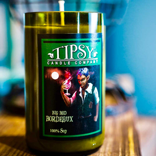 Big Bad Bordeaux Soy candle in recycled wine bottle