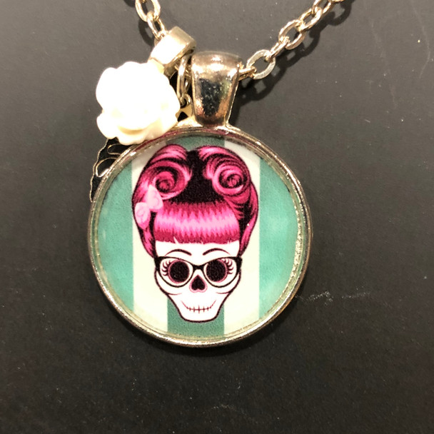 Rockabilly Green Skull Necklace