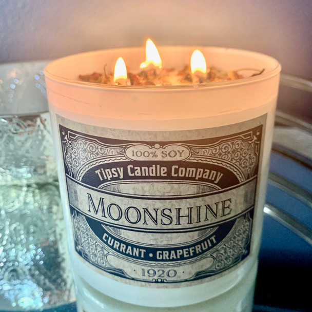 Moonshine 3 wick soy candle.