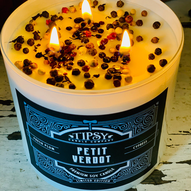 Petit Verdot Soy Candle made by Tipsy Candle Company.