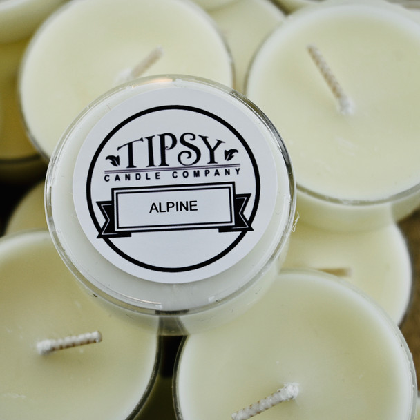Alpine Tealight soy candle made by Tipsy Candle Company