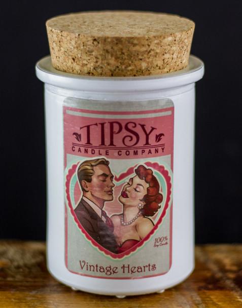 Vintage hearts 6oz. cork top tumbler soy candle