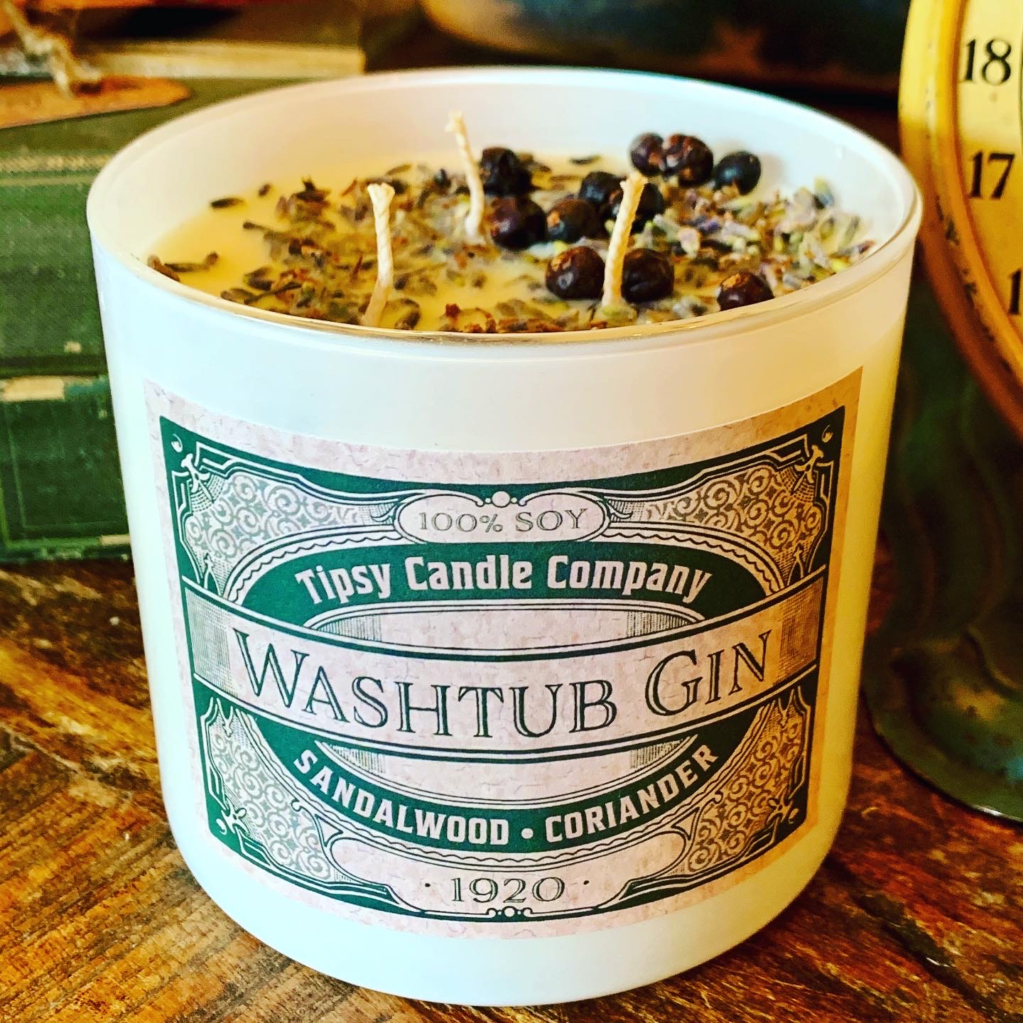 Washtub Gin 3 wick Soy 17 ounce Candle made by Tipsy Candle Company