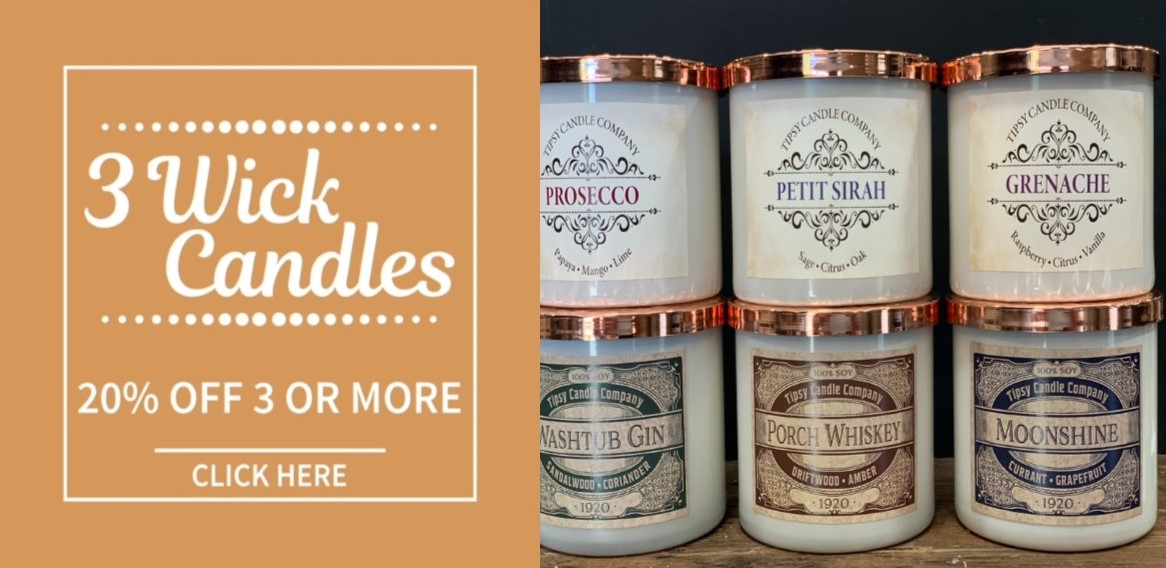 3 Wick Candles 20% off 3 or more
