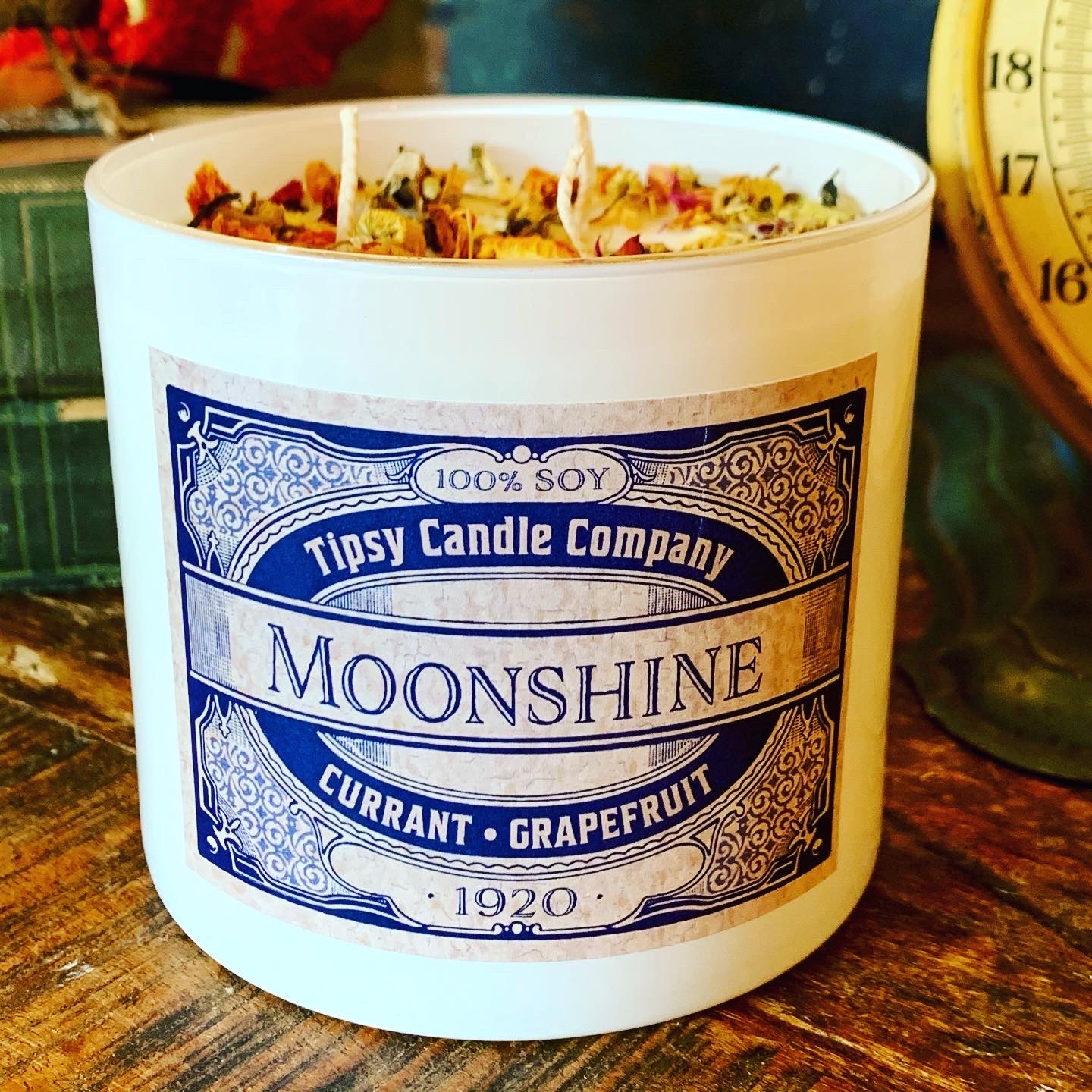 Moonshine 3 wick Soy 17 ounce Candle made by Tipsy Candle Company