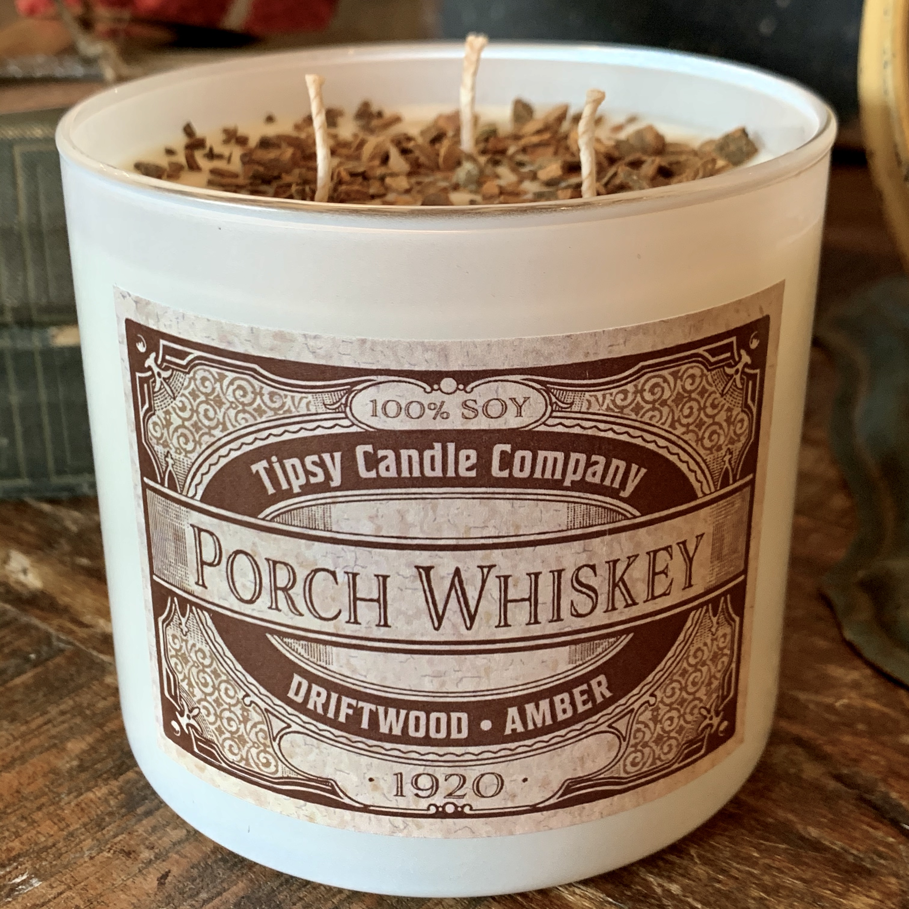 Porch Whiskey 3 wick Soy 17 ounce Candle made by Tipsy Candle Company