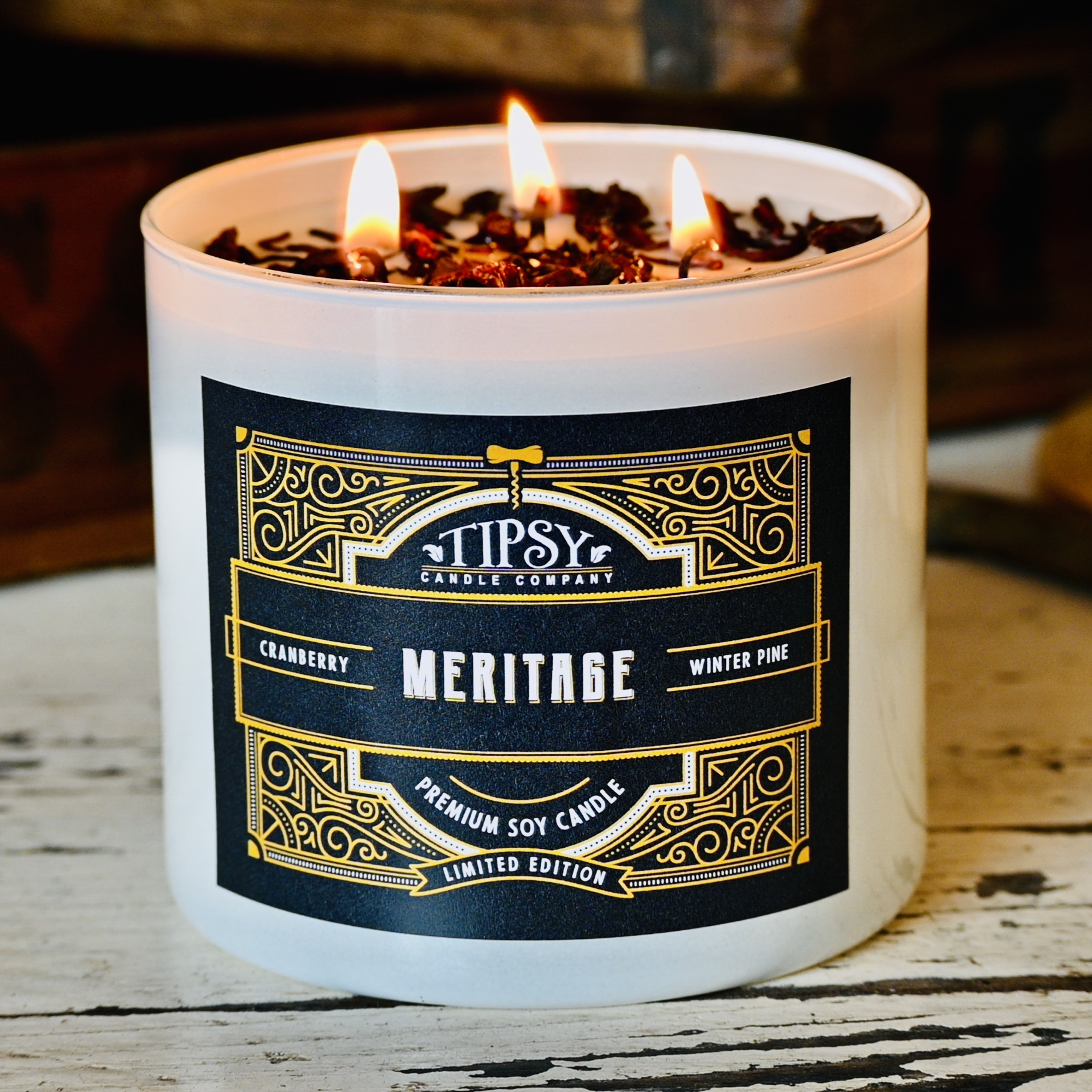 Meritage Soy 3 wick Candle by Tipsy Candle Company
