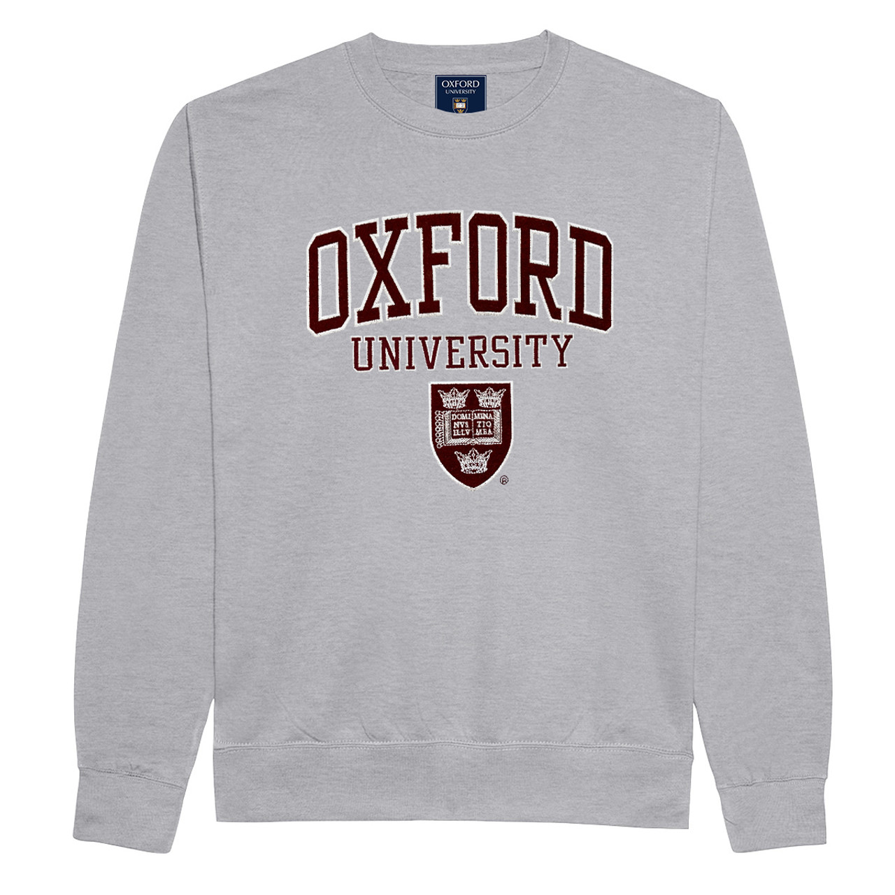 Unisex Oxford University Applique Embroidered T Shirt Maroon