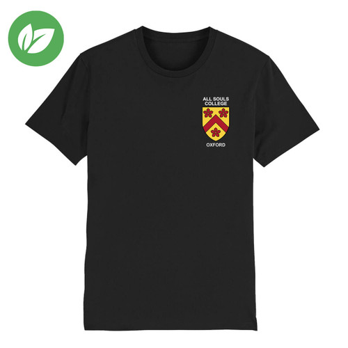 All Souls College Embroidered Organic T-Shirt - Black