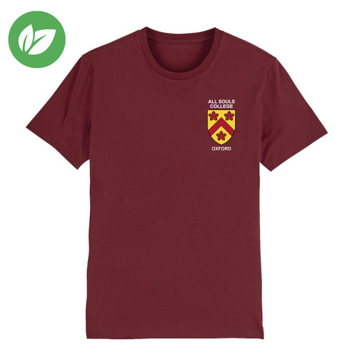 All Souls College Embroidered Organic T-Shirt - Burgundy