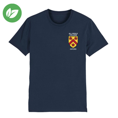 All Souls College Embroidered Organic T-Shirt - French Navy