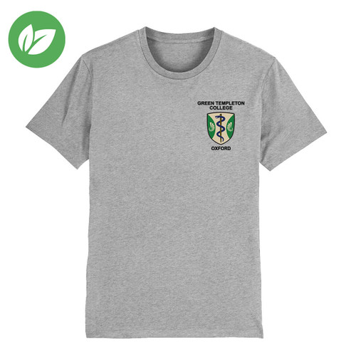 Green Templeton College Embroidered Organic T-Shirt - Heather Grey