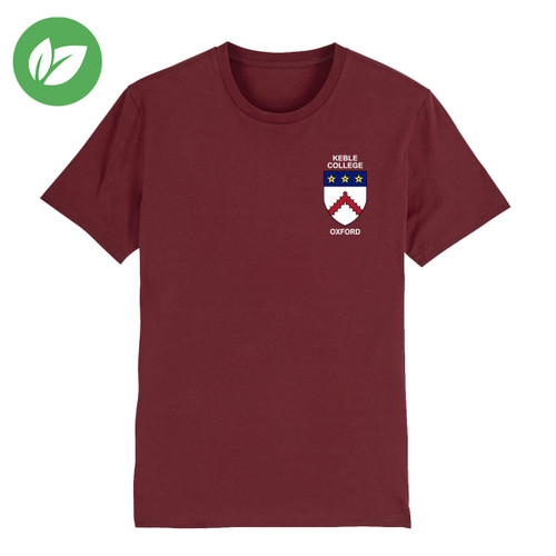 Keble College Embroidered Organic T-Shirt - Burgundy