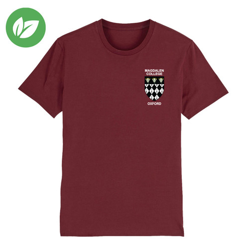 Magdalen College Embroidered Organic T-Shirt - Burgundy