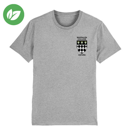 Magdalen College Embroidered Organic T-Shirt - Heather Grey