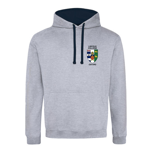 Lincoln College Embroidered Hoodie - Heather Grey/Navy