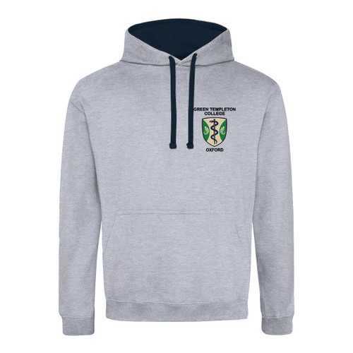 Green Templeton College Embroidered Hoodie - Heather Grey/Navy