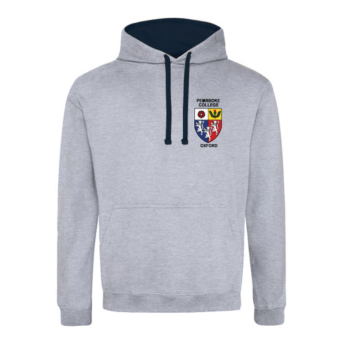 Pembroke College Embroidered Hoodie - Heather Grey/Navy