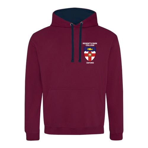Regent's Park College Embroidered Hoodie - Burgundy/Navy