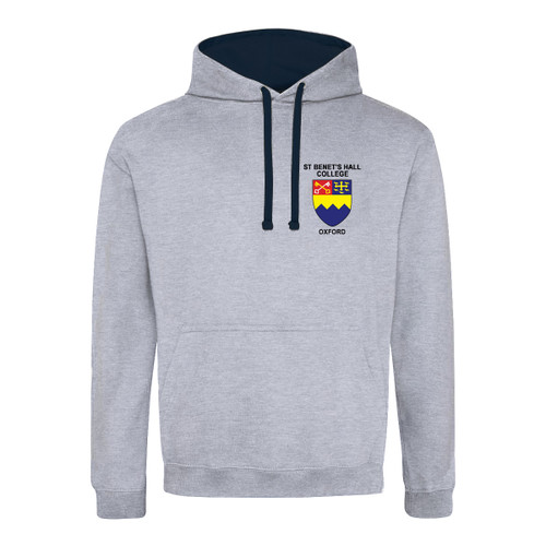 St Benet's Hall College Embroidered Hoodie - Heather Grey/Navy