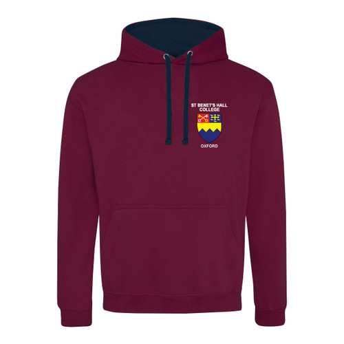 St Benet's Hall College Embroidered Hoodie - Burgundy/Navy