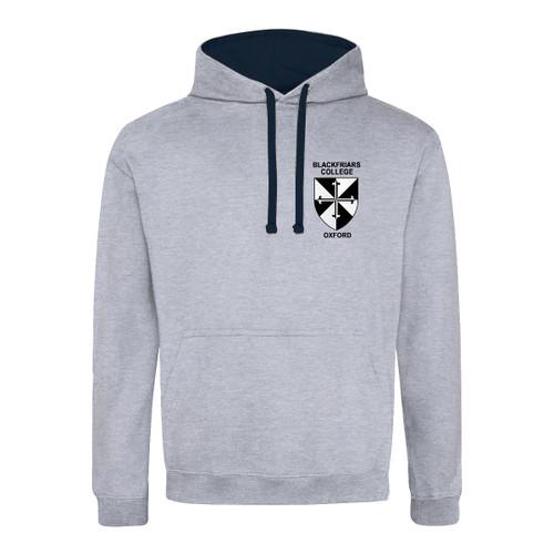 Blackfriars College Embroidered Hoodie - Heather Grey/Navy
