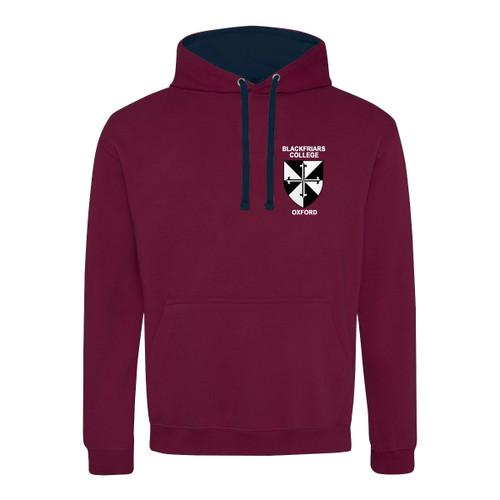 Blackfriars College Embroidered Hoodie - Burgundy/Navy