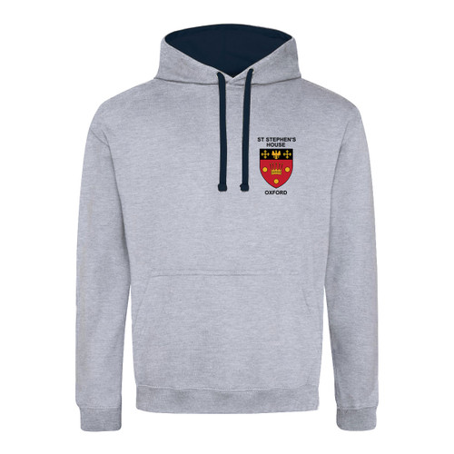 St Stephen's House College Embroidered Hoodie - Heather Grey/Navy