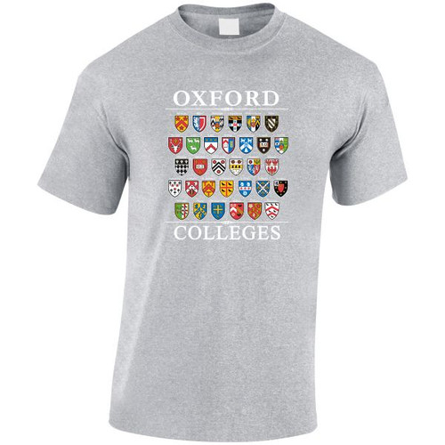 Oxford 'College Shields' T-Shirt - Sports Grey