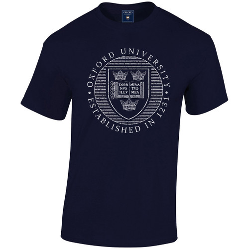 Official Oxford University Distressed Crest T-Shirt - Navy