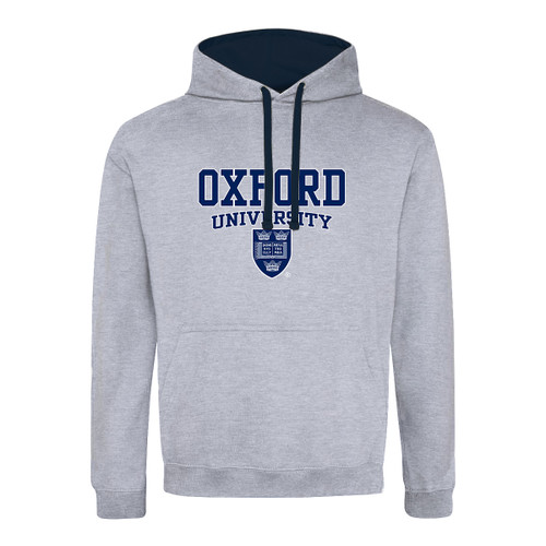 Official Oxford University Crest Contrast Grey Hoodie