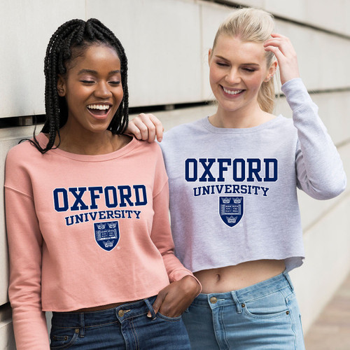 Womens Official Oxford University Crest Cropped Sweatshirt