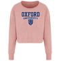 Womens Official Oxford University Crest Cropped Sweatshirt - Dusty Pink