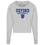 Womens Official Oxford University Crest Cropped Sweatshirt - Light Grey