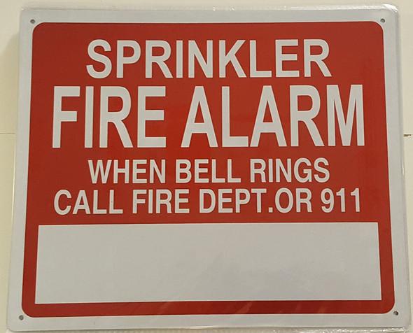 Sprinkler FIRE Alarm When Bell Rings Call 911