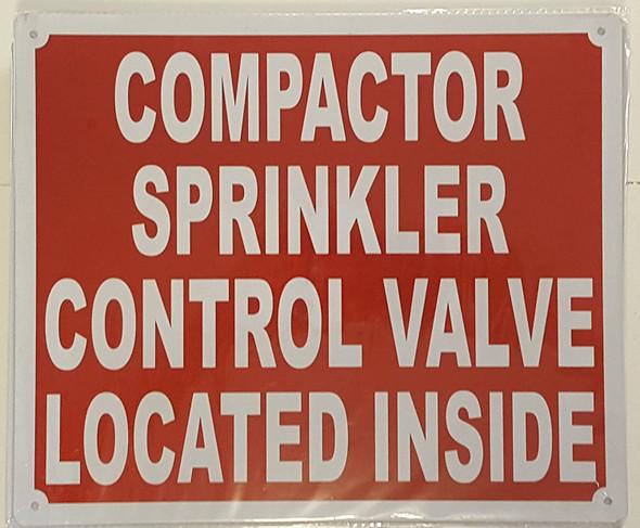 Compactor Sprinkler Control Valve Located Inside  Signage