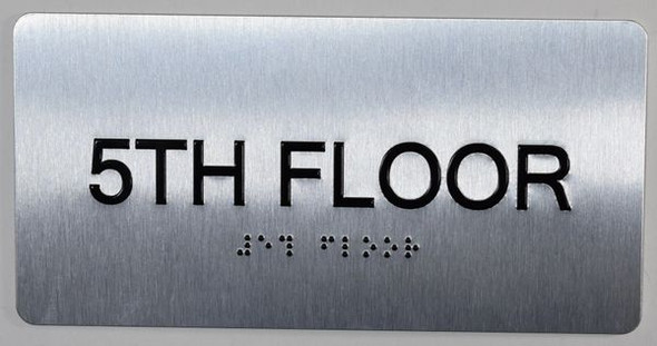 5th Floor  Signage- Floor Number Tactile Touch Braille  Signage