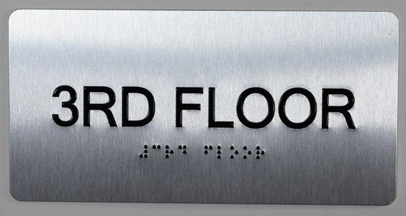 3rd Floor  Signage- Floor Number Tactile Touch Braille  Signage