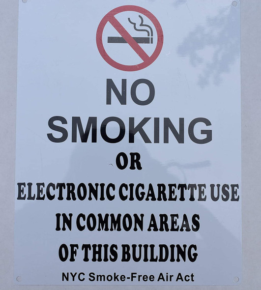 NO Smoking OR Electronic Cigarette USE in Common Areas of This Building - NYC Smoke Free ACT