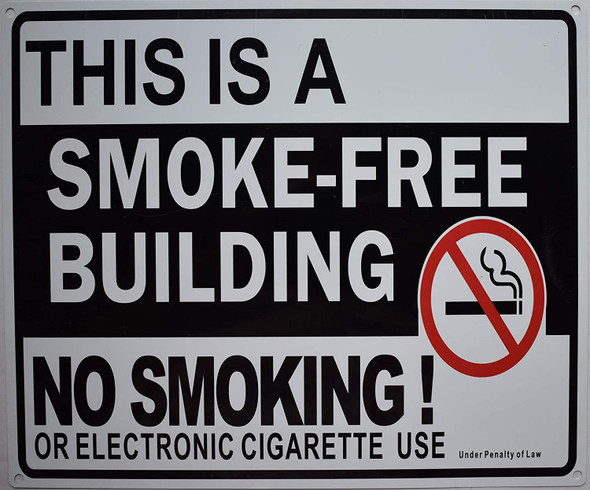 This is A Smoke Free Building NO Smoking OR Electronic Cigarette USE  Signage/Black,