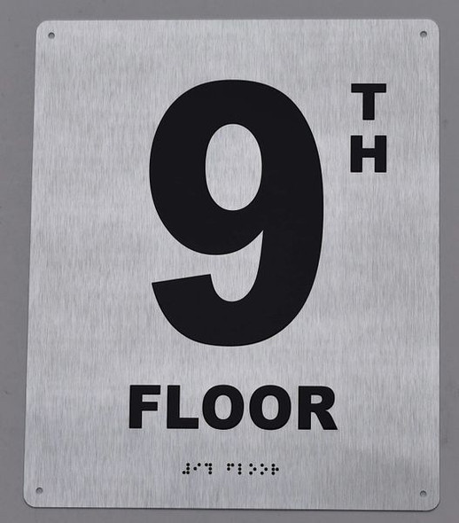 9TH Floor - Floor Number - Tactile Touch Braille